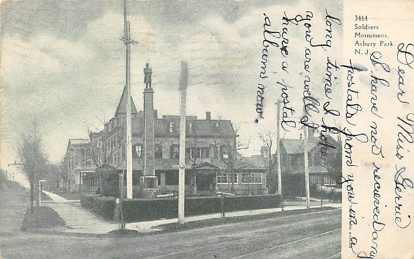 Soldiers Monument Asbury Park, New Jersey Postcard