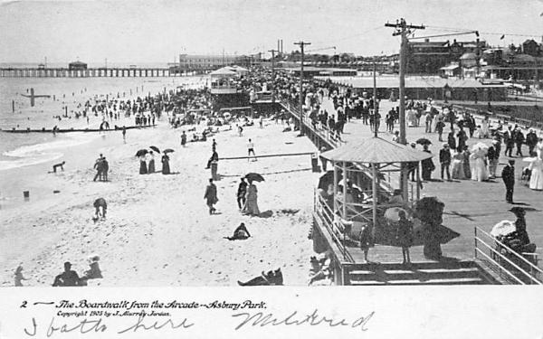 The Boardwalk from Arcade Asbury Park, New Jersey Postcard