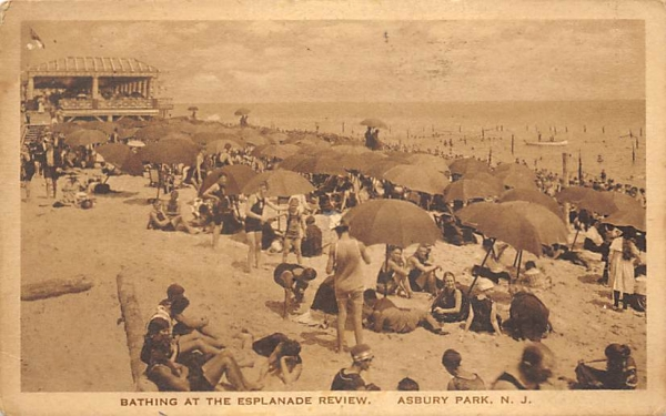 Bathing at the Esplanade Review Asbury Park, New Jersey Postcard