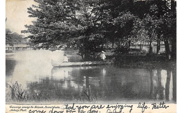 Canoeing among the Islands Asbury Park, New Jersey Postcard