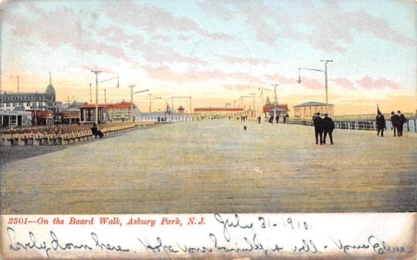 On the Board Walk Asbury Park, New Jersey Postcard