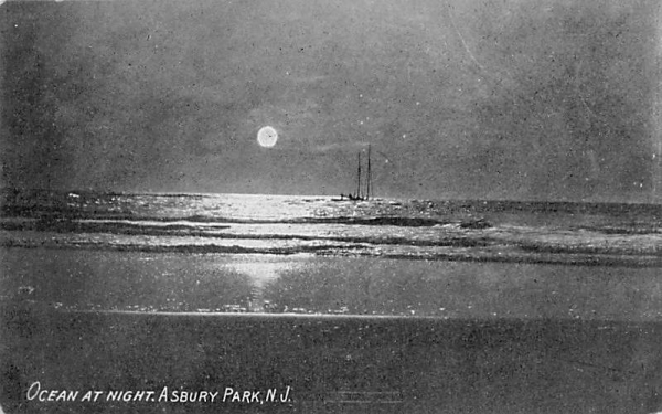 Ocean at Night Asbury Park, New Jersey Postcard