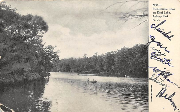 Picturesque spot on Deal Lake Asbury Park, New Jersey Postcard