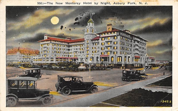 The New Monterey Hotel by Night Asbury Park, New Jersey Postcard