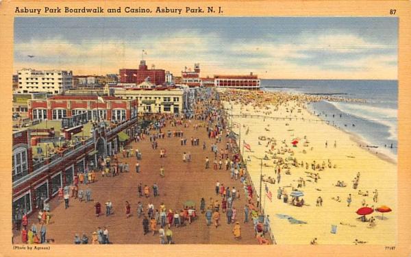 Asbury Park Boardwalk and Casino New Jersey Postcard