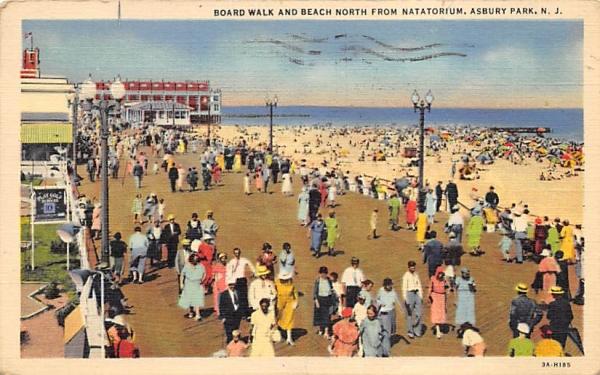 Board Walk and Beach north from Natatorium Asbury Park, New Jersey Postcard
