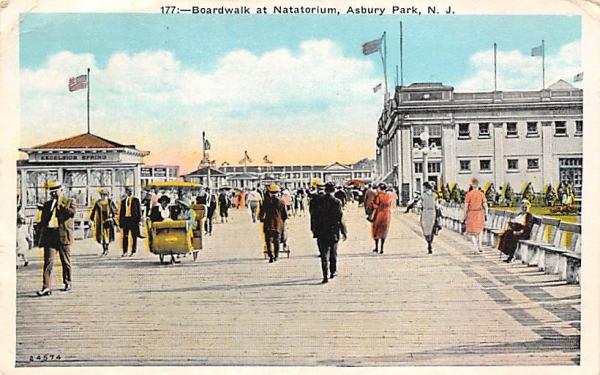 Boardwalk at Natatorium Asbury Park, New Jersey Postcard