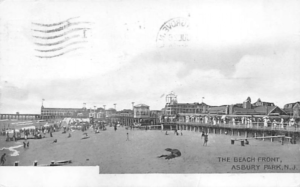 The Beach Front Asbury Park, New Jersey Postcard