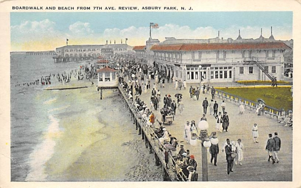 Boardwalk and Beach from 7th Ave. Asbury Park, New Jersey Postcard