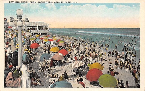 Bathing Beach from Boardwalk Asbury Park, New Jersey Postcard