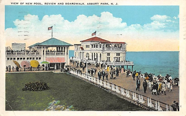 View of New Pool, Review and Boardwalk Asbury Park, New Jersey Postcard