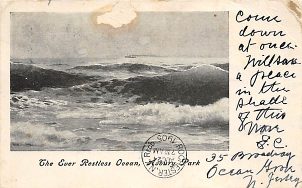 The Ever Restless Ocean Asbury Park, New Jersey Postcard