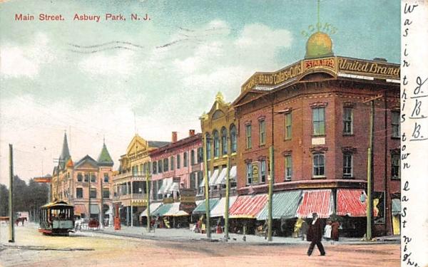 Main Street Asbury Park, New Jersey Postcard
