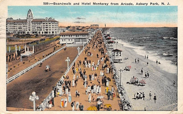 Boardwalk and Hotel Monterey from Arcade Asbury Park, New Jersey Postcard