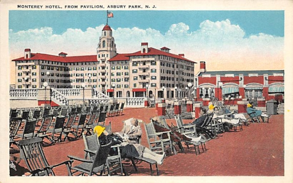 Monterey Hotel, From Pavilion Asbury Park, New Jersey Postcard