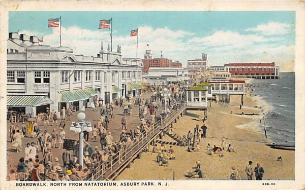 Boardwalk, North from Natatorium Asbury Park, New Jersey Postcard