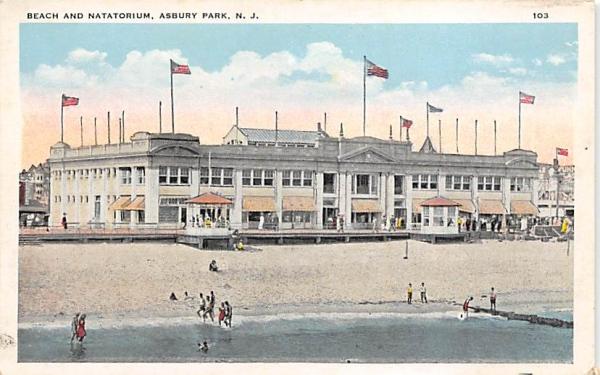 Beach and Natatorium Asbury Park, New Jersey Postcard