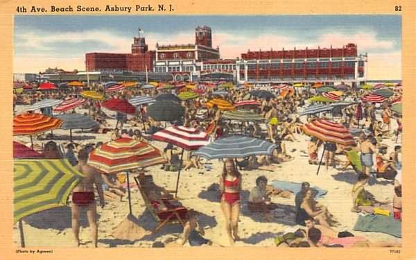 4th Ave. Beach Scene Asbury Park, New Jersey Postcard