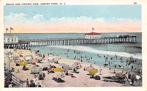 Beach and Fishing Pier Asbury Park, New Jersey Postcard