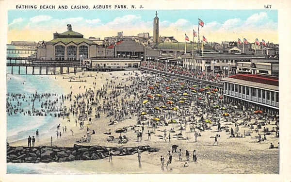 Bathing Beach and Casino Asbury Park, New Jersey Postcard