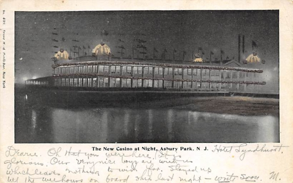 The New Casino at Night Asbury Park, New Jersey Postcard