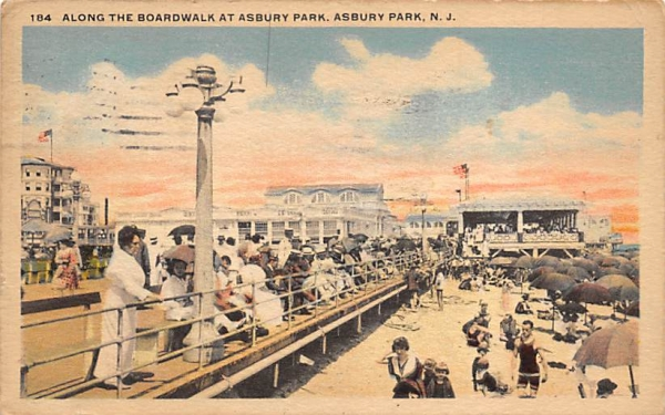 Along the Boardwalk at Asbury Park New Jersey Postcard