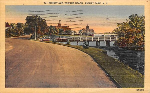 Sunset Ave. Asbury Park, New Jersey Postcard