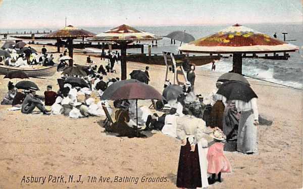 7th Ave, Bathing Grounds Asbury Park, New Jersey Postcard