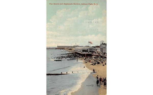 The Beach and Esplanade Review Asbury Park, New Jersey Postcard