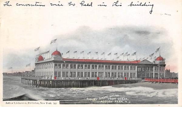 Asbury Avenue Casino from Ocean Asbury Park, New Jersey Postcard