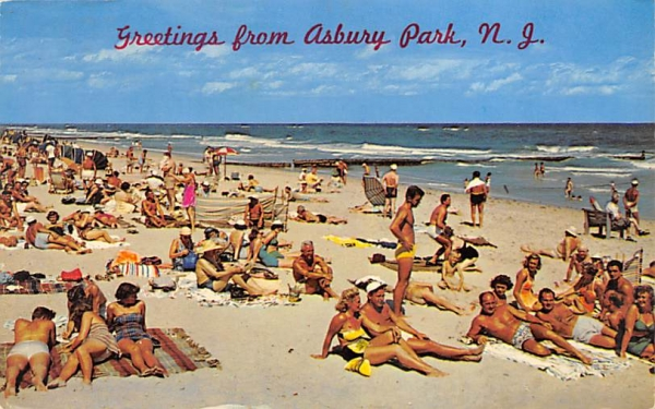 setting of sun, surf and inviting beach Asbury Park, New Jersey Postcard