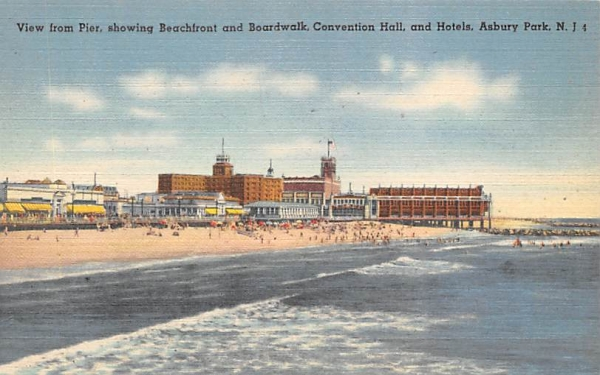Convention Hall, and Hotels Asbury Park, New Jersey Postcard