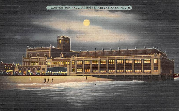 Convention Hall, at Night Asbury Park, New Jersey Postcard