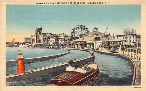Wesley Lake showing the Boat Ride Asbury Park, New Jersey Postcard