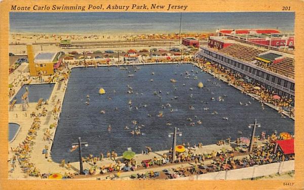 Monte Carlo Swimming Pool Asbury Park, New Jersey Postcard