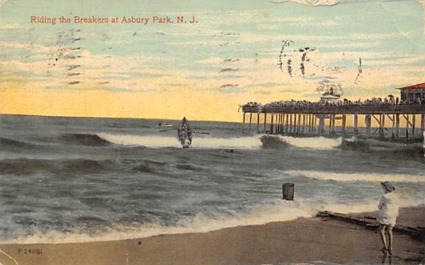 Riding the Breakers Asbury Park, New Jersey Postcard