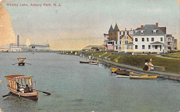 Wesley Lake Asbury Park, New Jersey Postcard