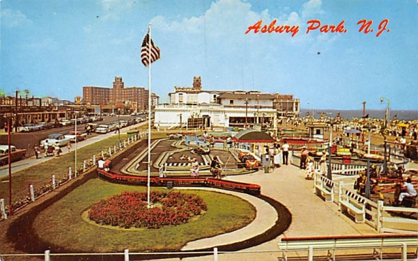 A small section of the fun area on the boardwalk  Asbury Park, New Jersey Postcard