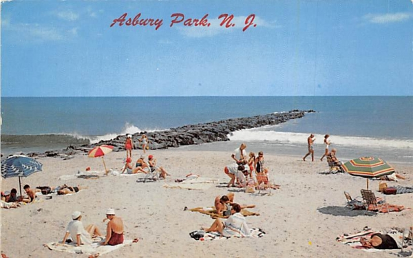 Relaxing on the beach Asbury Park, New Jersey Postcard