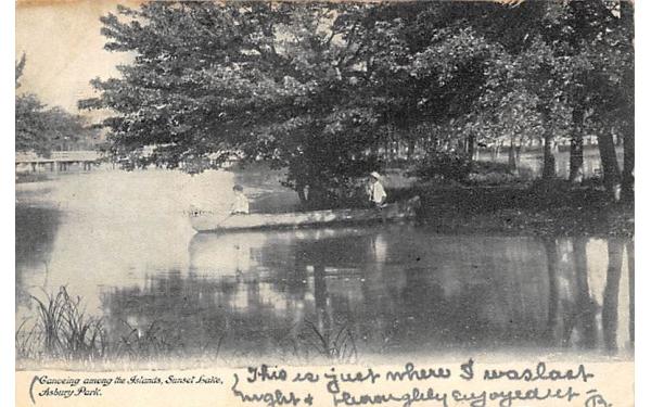 Canoeing among the Islands, Sunset Lake Asbury Park, New Jersey Postcard