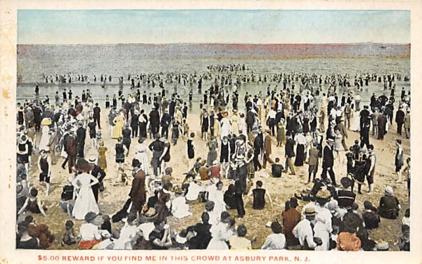 $5.00 Reward If You Find Me In This Crowd  Asbury Park, New Jersey Postcard