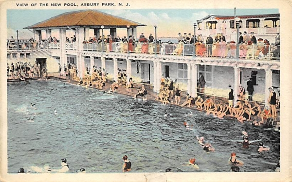 View of the New Pool Asbury Park, New Jersey Postcard