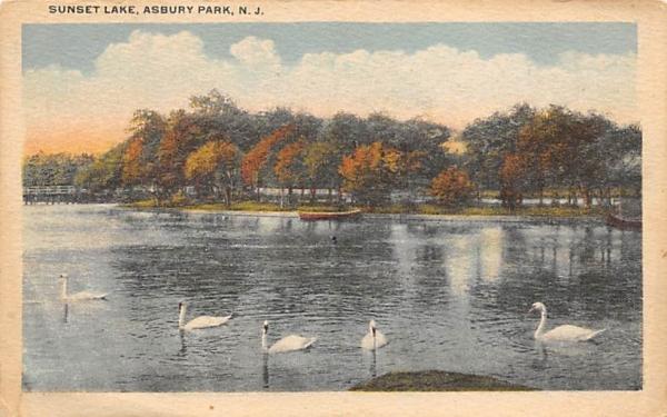 Sunset Lake Asbury Park, New Jersey Postcard