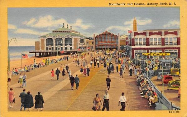 Boardwalk and Casino Asbury Park, New Jersey Postcard