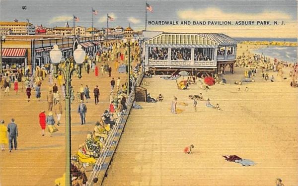 Boardwalk and Band Pavilion Asbury Park, New Jersey Postcard