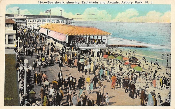 Boardwalk showing Esplanade and Arcade Asbury Park, New Jersey Postcard