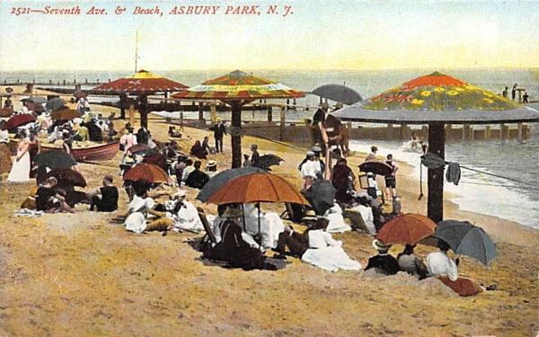 Seventh Ave. & Beach Asbury Park, New Jersey Postcard