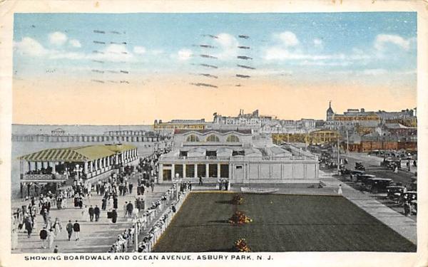 Showing Boardwalk and Ocean Avenue Asbury Park, New Jersey Postcard