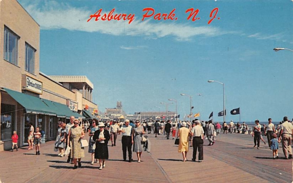 Stroll on the famous boardwalk  Asbury Park, New Jersey Postcard