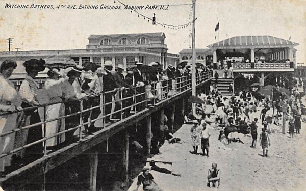 Watching Bathers, 4th Ave. Bathing Grounds Asbury Park, New Jersey Postcard